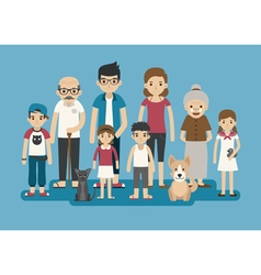 Set of big happy family character eps10 vector image vector image