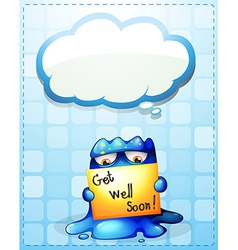 A monster holding a get-well-soon card with an vector image vector image