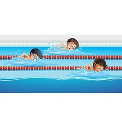 Athletes swimming in the pool vector image vector image