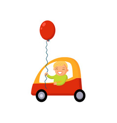 boy driving car cartoon vector image