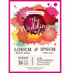 color splash wedding party invitation card vector image vector image