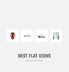 Flat icon clothes set of sneakers trunks cloth vector