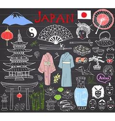 Japan doodles set Hand drawn sketch vector image