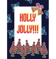 Knitted christmas patch 1 vector