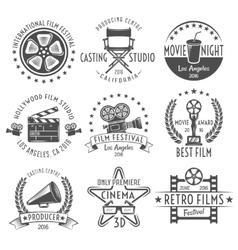 Movies Black White Emblems Set vector image vector image