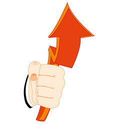 red arrow in hand vector image