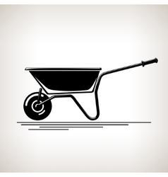 Silhouette a Wheelbarrow on a Light Background vector image