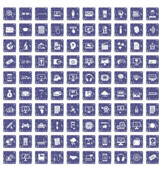 100 website icons set grunge sapphire vector image
