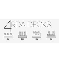 4 thin lines RDA decks set vector