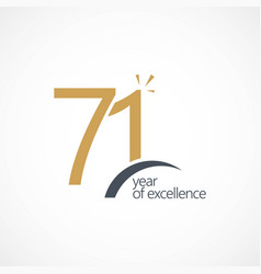 71 year excellence template design vector image