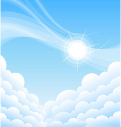 Above clouds blue sky with sun vector