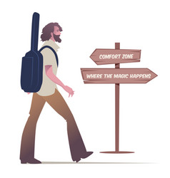 Bearded young man walking carrying a guitar to vector