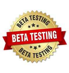 Beta testing 3d gold badge with red ribbon vector