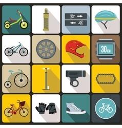 Biking icons set flat style vector image
