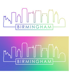 birmingham usa skyline colorful linear style vector image