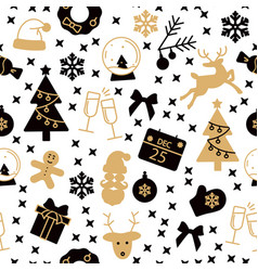 black and gold new year seamless pattern vector image