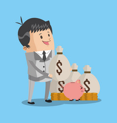 businessman with money bags vector image