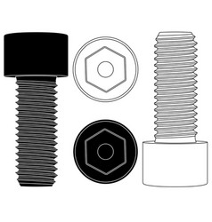 Cap hex socket bolt black and white outline icons vector