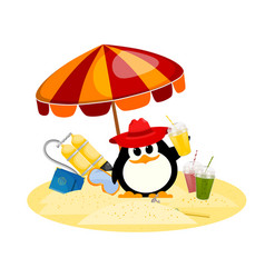 Cartoon color image of a small penguin under a vector