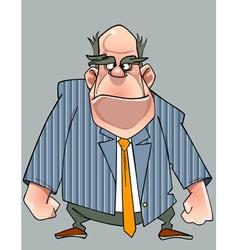 Cartoon disgruntled man in a suit standing vector