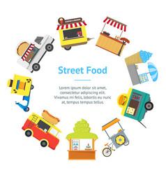 Cartoon street food truck stall kiosk banner card vector