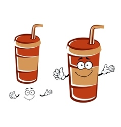 Cartoon takeaway cup with drinking straw character vector