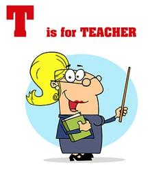 Cartoon teach with letter vector