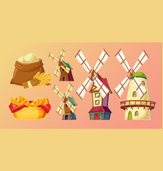 Cartoon traditional old windmills vector