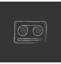 Cassette tape Drawn in chalk icon vector