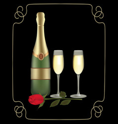 Champagne bottle with two glasses and rose on dark vector