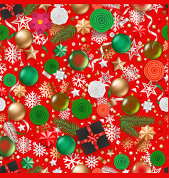christmas greeting card with holiday objects on vector image