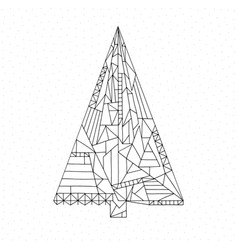 christmas tree coloring page hand drawn abstract vector image