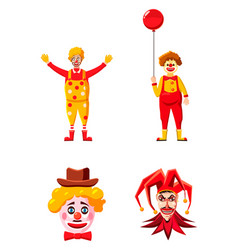clown icon set cartoon style vector image