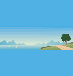 Coastal landscape and sunny beautiful day scene vector