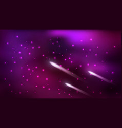 Cosmos background night sky with flying comets vector