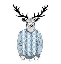 creative portrait of dressed deer vector image