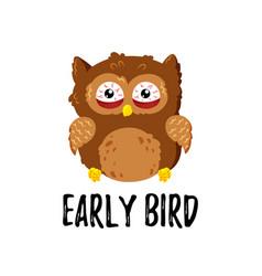 cute cartoon tired displeased owl doodle vector image