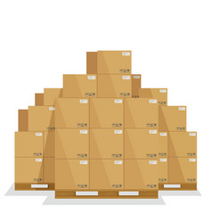 delivery boxes on a wooden pallet vector image
