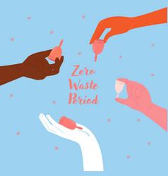 Diverse hands hold menstrual cups empowerment vector