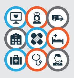 drug icons set collection of bandage physician vector image vector image
