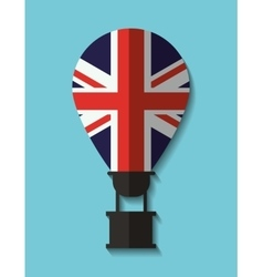 Flag hot air balloon england design vector