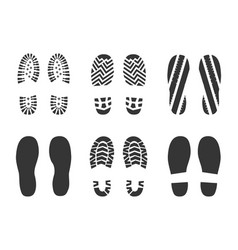 footprints human shoes silhouette vector image