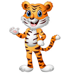 Funny tiger cartoon waving hand vector