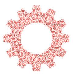 Gearwheel collage of star pentagram icons vector