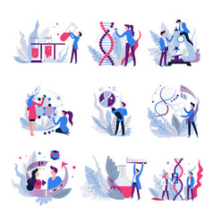 genetics science isolated abstract icons vector image