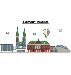 Germany bremen city skyline architecture vector