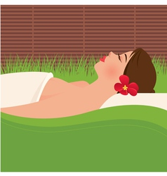 Girl relaxing in spa salon vector