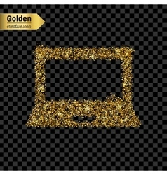 Gold glitter icon of notebook isolated on vector image