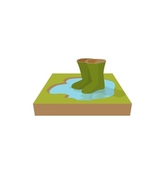 Green rubber boots in a puddle icon cartoon style vector image