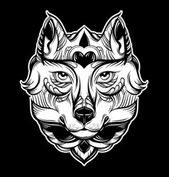 hand drawn wolf with decorative elements vector image